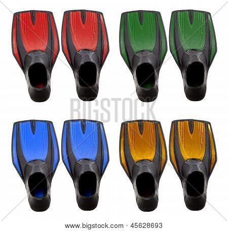 Set Of Multicolored Swim Fins