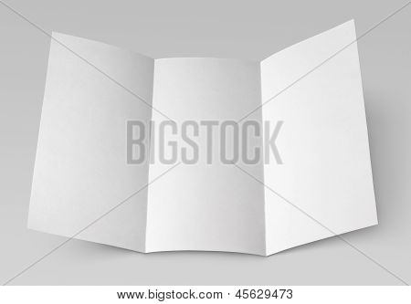Blank Folded Flyer On Gray