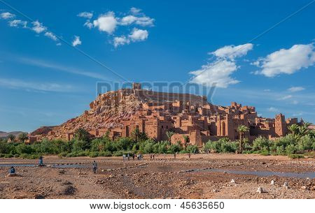 View of Ait Benhaddou traditional berber kasbah Morocco poster