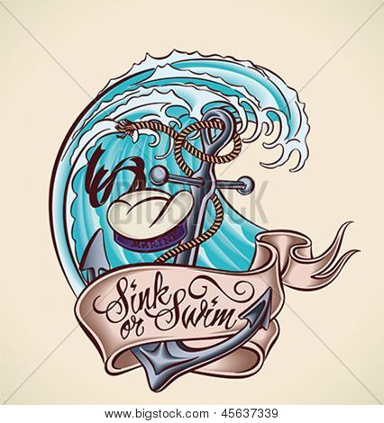 Vintage tattoo design with anchor, sailor's hat, banner and wave. Editable vector illustration.