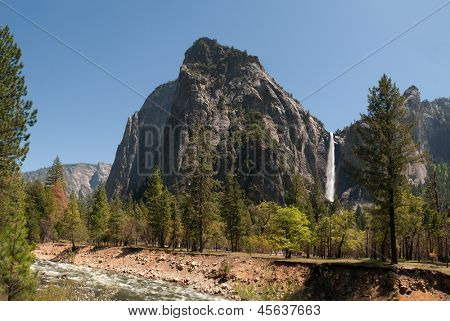 Bridalveil falls, and the Merced river Yosemite valley, California