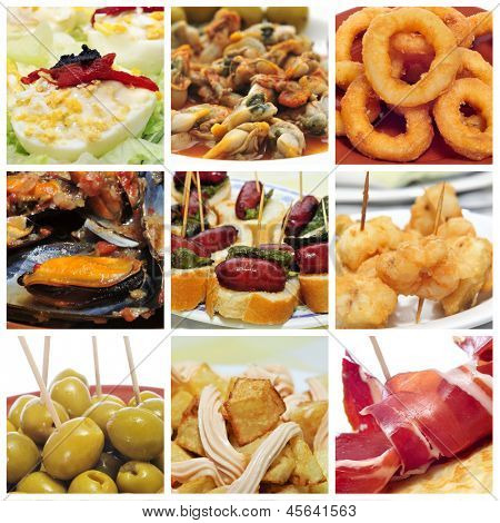a collage of nine pictures of different spanish tapas, such as calamares a la romana (squid rings), mejillones a la marinera (mussels in marinara sauce) or spanish omelette or patatas bravas
