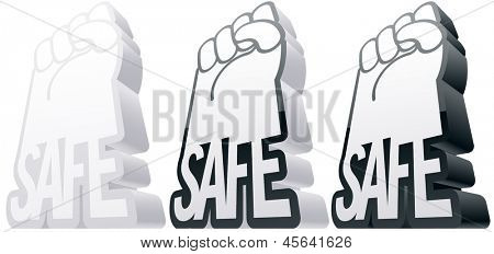 Vector illustration of an abstract symbol in the form of arms and the safe word