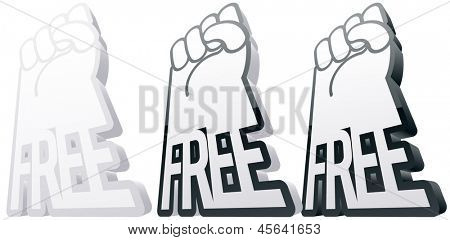 Vector illustration of an abstract symbol in the form of arms and the FREE word