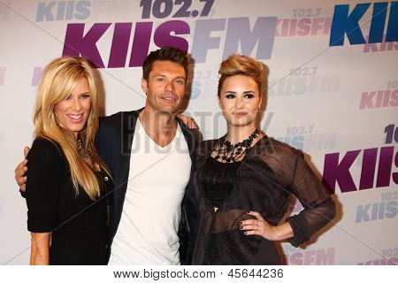 LOS ANGELES - MAY 11:  Ellen K, Ryan Seacrest, Demi Lovato attend the 2013 Wango Tango concert produced by KIIS-FM at the Home Depot Center on May 11, 2013 in Carson, CA