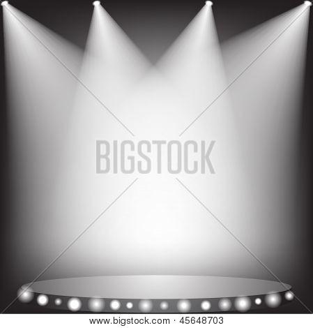 White spotlights on stage in dark. Vector illustration. poster