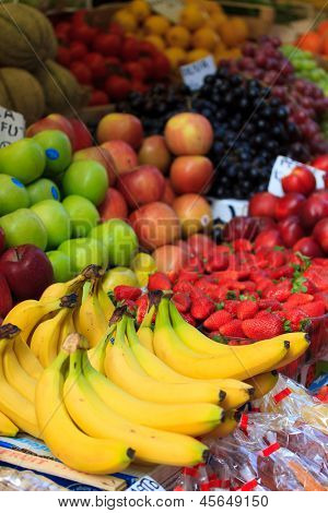 Various fruits  at the market in Italy