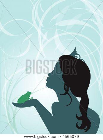 Princess Kissing Frog Background - Vector Illustration