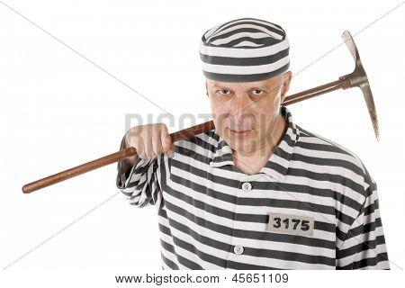 Convict prisoner jailbird with pickax