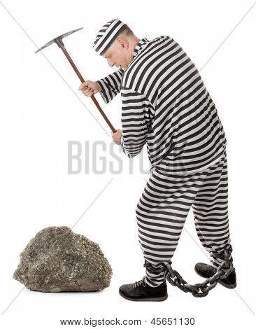 Convict prisoner jailbird pestle rock with pickax