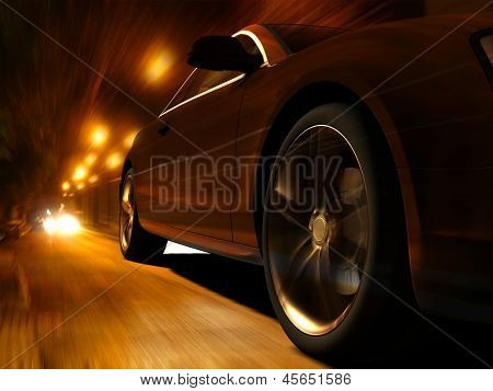 The car sped along the road