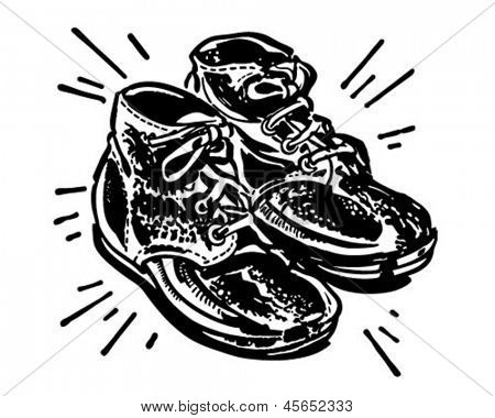 Bronzed Baby Shoes - Retro Clip Art Illustration