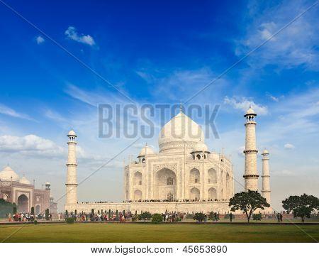 Taj Mahal. Indian Symbol - India travel background. Agra, India