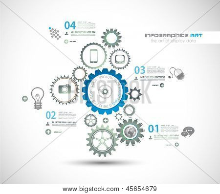 Infographic design template with gear chain. Ideal to display information, ranking and statistics with orginal and modern style.
