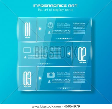 Infographic design template with glass surfaces. Ideal to display information, ranking and statistics with orginal and modern style.