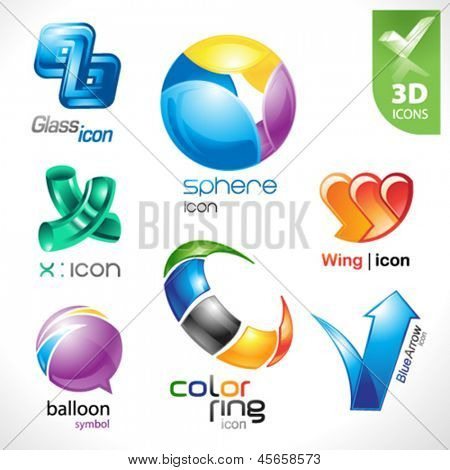 Set of vector design elements 18. 3D icons