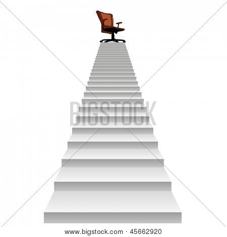High resolution concept conceptual 3d stair climbing to a leader,chief or promotion chair on top isolated white background,metaphor to career,business,success,achievement,winner,goal,step or victory