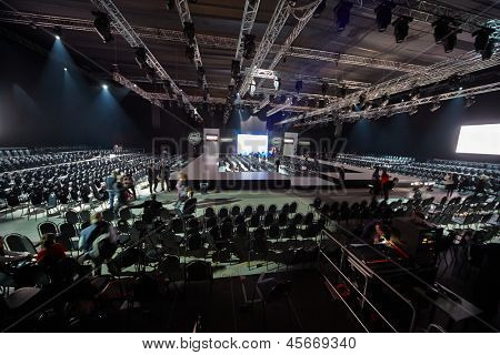 MOSCOW - APR 4: Hall with podium in Gostiny Dvor during Volvo Fashion Week, April 4, 2012, Moscow, Russia. Gostiny Dvor is one of most mesmerizing historical buildings in Moscow.