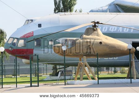 MOSCOW - AUGUST 2: Cargo helicopter V-12 (Mi-12) and helicopter - Mi-1 near Helicopter Plant named Mil, on August 2, 2012 in Moscow, Russia. Helicopter V-12 - largest and heaviest helicopter in world.