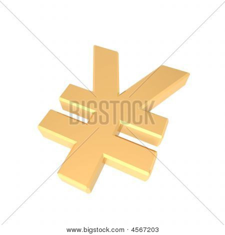 Gold Yen Sign Isolated On White