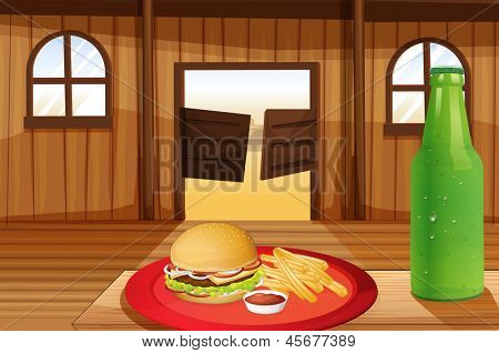 Illustration of a burger and fries in a red plate and a bottle of soda