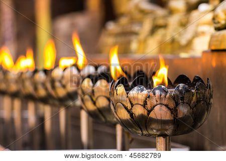 Vesak Bucha Candle In Thai Temple In Chiangmai Thailand