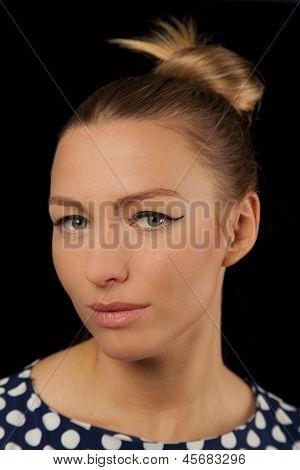 Beautiful Woman With Green Eyes And Polka Dot Dress