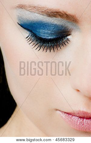 Beautiful Woman With Blue Makeup
