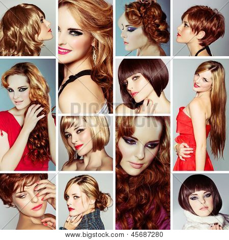 collage of the same beautiful young woman wearing different make-up and long and short hairstyles on studio background