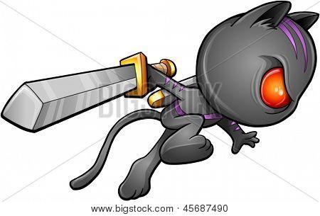 Ninja Warrior Kitten Cat Vector poster