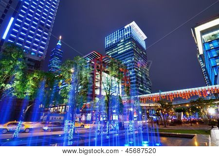 TAIPEI, TAIWAN - JANUARY 18: Fountain in the Xinyi District January 18, 2013 in Taipei, TW. Several key buildings such as Taipei 101 are located in Xinyi making it the financial district of the city.