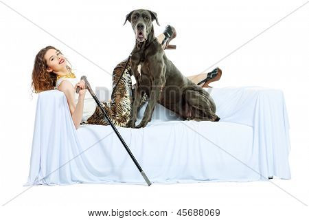 Beautiful young woman posing with her Great Dane dog. Isolated over white. poster