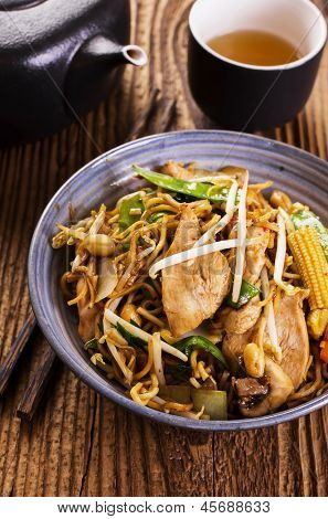 stir fried noodles with chicken poster