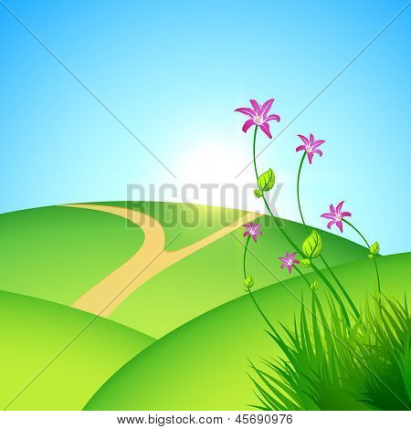Beautiful morning summer background with flowers.