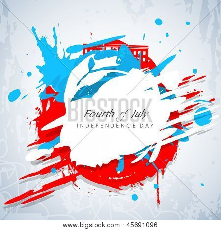 poster of Fourth of July, American Independence Day concept with blue silhouette of Statue of Liberty and flag colors on grungy background.