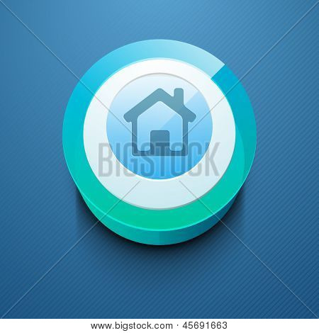 Glossy 3D web 2.0 home or homepage symbol icon set. EPS 10.