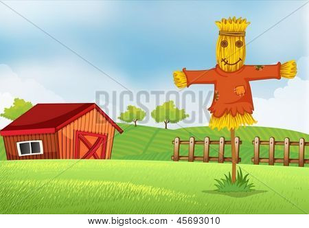 Illustration of a farm with a barn and a scarecrow
