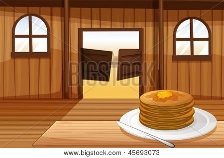 Illustration of a plate with pancakes
