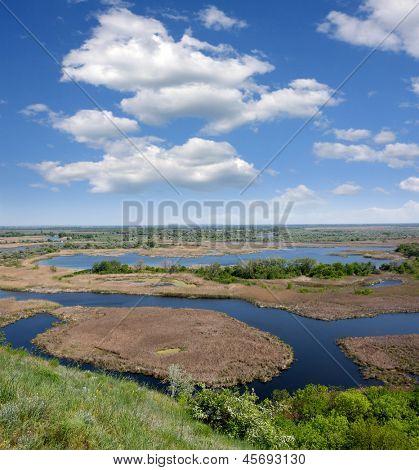 Delta river in nice day, Ukraine