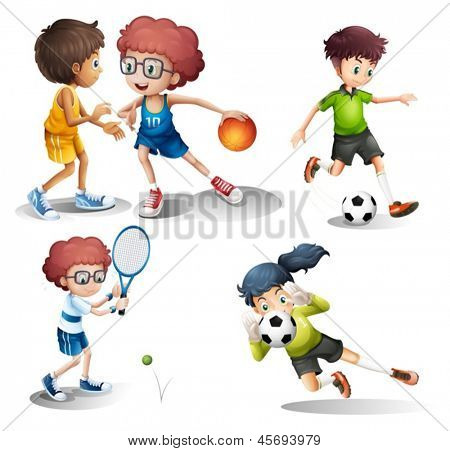 Illustration of the kids engaging in different sports on a white background