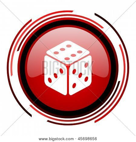 dice red circle web glossy icon on white background
