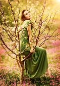 Fairy-tail forest nymph, beautiful sexy woman at spring garden, wearing long dress, sitting on blooming tree, vintage dreamy fashion style poster