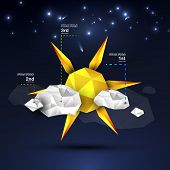 Origami sun and clouds design. Can be used as a background, web design, infographics, banner, weather icon, nature concept poster