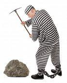 Convict prisoner jailbird pestle rock with pickax poster