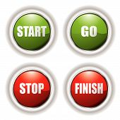 Stop start buttons in red and green with silver bevel poster