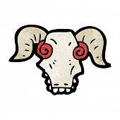 spooky ram skull cartoon poster