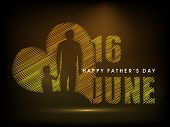 Happy Fathers Day concept for flyer, banner or poster with image of a father holding his child hand and text 16th June on brown background. poster