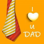 Happy Fathers Day concept banner, flyer or poster design with neckties and text I Love You Dad on yellow background. poster