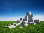 Abstract stairs of concrete cubes on field with grass and sky poster