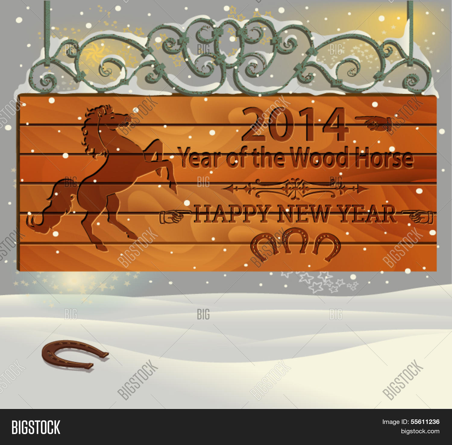 2014 Year Wood Horse Vector Photo Free Trial Bigstock